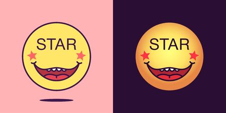 Emoji face icon with phrase Star. Starry emoticon with text Star. Set of cartoon faces, emotion icon for social media communication, celebrity sticker and sign for print. Vector illustration