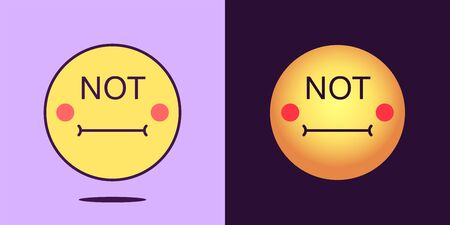 Emoji face icon with phrase Not. Pessimistic emoticon with text Not. Set of cartoon faces, emotion icon for social media communication, negative sticker and sign for print. Vector illustration Иллюстрация