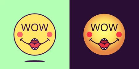 Emoji face icon with phrase Wow. Enthusiastic emoticon with text Wow. Set of cartoon faces, emotion icon for social media communication, rapturous sticker and sign for print. Vector illustration Illusztráció