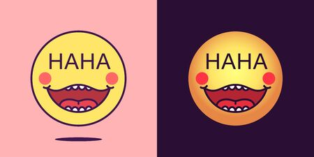 Emoji face icon with phrase HaHa. Laughing emoticon with text HaHa. Set of cartoon faces, emotion icon for social media communication, comic sticker and sign for print. Vector illustration Vectores