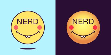 Emoji face icon with phrase Nerd. Dilly emoticon with text Nerd. Set of cartoon faces, emotion icon for social media communication, silly sticker and sign for print. Vector illustration