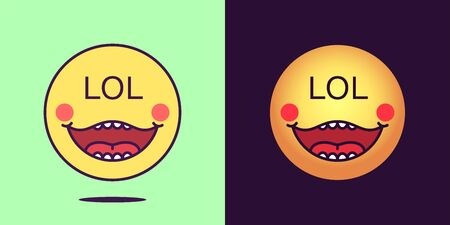 Emoji face icon with phrase Lol. Laughing emoticon with text Lol. Set of cartoon faces, emotion icon for social media communication, cheerful sticker and sign for print. Vector illustration