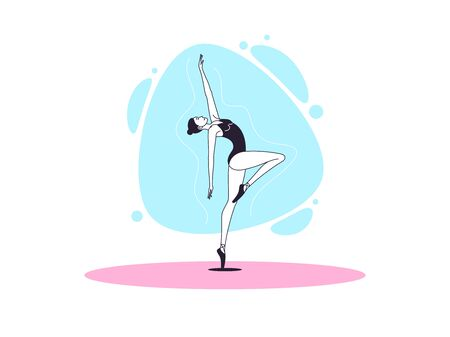 Graceful ballerina woman in outline minimalist style. Ballet dancer stands on one leg, bends back and looks up. Ballet posture and posing, dance performance, acrobatic show. Vector illustration