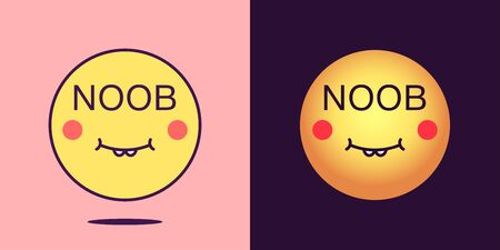 Emoji face icon with phrase Noob. Unskilled emoticon with text Noob. Set of cartoon faces, emotion icon for social media communication, loser sticker and sign for print. Vector illustration