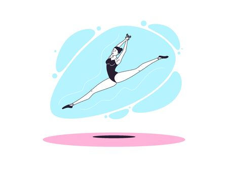 Graceful ballerina woman in outline minimalist style. Ballet dancer performs jump and soars with twine in the air. Ballet posture and posing, dance performance, acrobatic show. Vector illustration