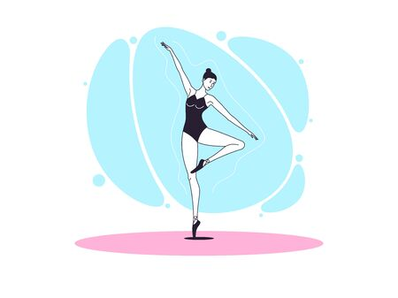 Graceful ballerina woman in outline minimalist style. Ballet dancer stands on one leg, bends second leg and lifts up one hand. Ballet posture and posing, dance performance. Vector illustration