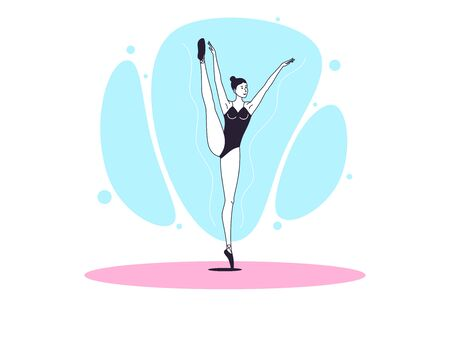 Graceful ballerina woman in outline minimalist style. Ballet dancer stands on one leg, lifts up second leg and hands. Ballet posture and posing, dance performance. Vector illustration