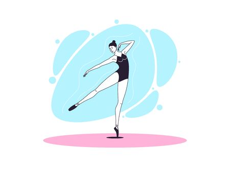 Graceful ballerina woman in outline minimalist style. Ballet dancer stands on one leg, outstretched leg and arm aside. Ballet posture and posing, dance performance. Vector illustration 向量圖像