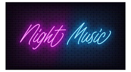 Neon Night Music, lettering. Neon text of Night Music on black brick background. Night purple and blue vivid lights. Word, inscription and title with glow and illumination. Vector illustration