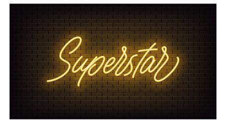 Yellow neon Superstar, lettering. Neon text of Superstar on black brick background, night ambience. Night vivid lights. Word, inscription and title with glow illumination. Vector illustration