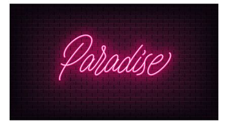 Pink neon Paradise, lettering. Neon text of Paradise on black brick background, night ambience. Night vivid lights. Word, inscription and title with glow illumination. Vector illustration