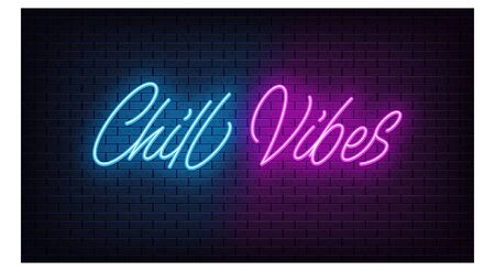 Neon Chill Vibes, lettering. Neon text of Chill Vibes on black brick background. Night relaxation, blue and purple vivid lights. Word, inscription and title with glow illumination. Vector illustration