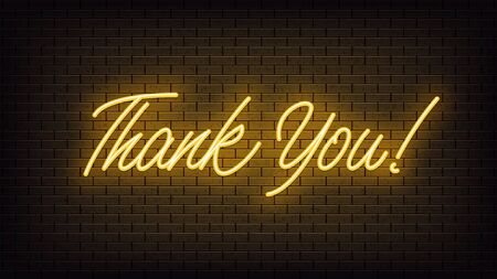 Yellow neon Thank You, lettering. Neon text of Thank You on black brick background. Night vivid lights. Word, inscription and title with glow illumination. Vector illustration