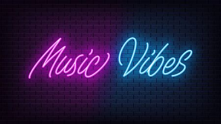 Neon Music Vibes, lettering. Neon text of Music Vibes on black brick background. Night purple and blue vivid lights. Word, inscription and title with glow illumination. Vector illustration