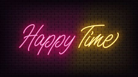 Neon Happy Time, lettering. Neon text of Happy Time on black brick background. Night pink and yellow vivid lights. Word, inscription and title with glow illumination. Vector illustration Vettoriali