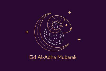 Muslim holiday Eid al Adha Mubarak. Feast of the Sacrifice, composition with golden Sheep, Crescent and Stars. Muslim festival, Eid al Fitr. Kurban Bayram, Hajj, Qurban Bayrami. Vector illustration