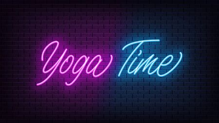 Neon Yoga Time, lettering. Neon text of Yoga Time on black brick background. Night purple and blue vivid lights. Word, inscription and title with glow illumination. Vector illustration