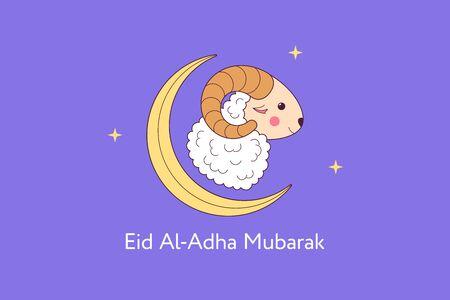 Muslim holiday Eid al Adha Mubarak. Feast of the Sacrifice, composition with cute Sheep, Crescent and Stars. Muslim festival, Eid al Fitr. Kurban Bayram, Hajj, Qurban Bayrami. Vector illustration Vettoriali