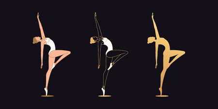 Golden ballerina woman in outline style. Set of silhouette, Ballet dancer stands on one leg, bends back and looks up. Ballet posture and posing, dance performance. Vector illustration Vettoriali