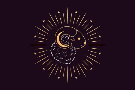 Muslim holiday Eid al Adha Mubarak. Feast of the Sacrifice, golden Sheep with Crescent, Rays and Stars. Muslim festival, Eid al Fitr. Kurban Bayram, Hajj, Qurban Bayrami. Vector illustration