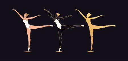 Golden ballerina woman in outline style. Set of silhouette, Ballet dancer stands on one leg, casts away second leg back, hands aside. Ballet posture and posing, dance performance. Vector illustration