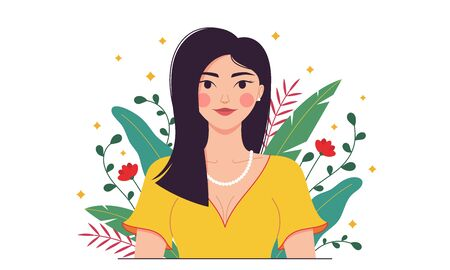 Indian fashion woman, minimalist style. Eastern lady among tropical plants, leaves, flowers. Stylish woman character, lady, model, girl. Minimalist summer composition. Vector illustration