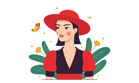 Fashion woman with red hat, minimalist style. Cartoon Lady in red with butterfly in the garden. Stylish woman character, lady, girl. Minimalist summer composition. Glamour vector illustration