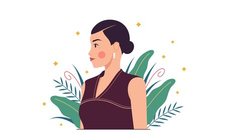 Asian fashion woman, minimalist style. Eastern lady among tropical plants, herbs, leaves. Stylish woman character, lady, model, girl. Minimalist summer composition. Glamour vector illustration