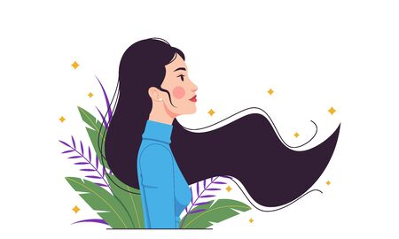 Asian fashion woman, minimalist style. Eastern lady with long fluttering hair among tropical leaves. Stylish woman character, lady, model, girl. Minimalist summer composition. Vector illustration Vettoriali