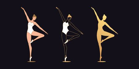 Golden ballerina woman in outline style. Set of silhouette, Ballet dancer stands on one leg, bends second leg and lifts up one hand. Ballet posture, posing, dance performance. Vector illustration