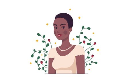 African fashion woman, minimalist style. Cartoon lady with dark skin and short hairstyle in the garden. Stylish woman character, lady, model, girl. Minimalist summer composition. Vector illustration