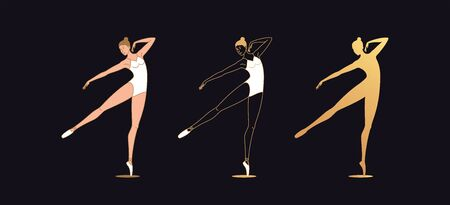 Golden ballerina woman in outline style. Set of silhouette, Ballet dancer stands on one leg, outstretched leg and arm aside. Ballet posture, posing, dance performance. Vector illustration