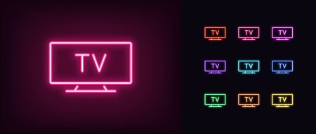 Neon tv icon. Glowing neon television sign, set of isolated widescreen tv display in different vivid colors. Bright icon, sign, symbol for UI design. Desktop device and gadget. Vector illustration