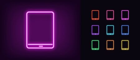 Neon tablet icon. Glowing neon tablet sign, set of isolated device in different vivid colors. Bright icon, sign, symbol for UI design. Mobile device and gadget. Vector illustration