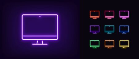 Neon monitor icon. Glowing neon computer sign, set of isolated display device in different vivid colors. Bright icon, sign, symbol for UI design. Desktop device and gadget. Vector illustration