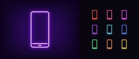 Neon phone icon. Glowing neon cellphone sign, set of isolated smartphone in different vivid colors. Bright icon, sign, symbol for UI design. Mobile device and gadget. Vector illustration Vettoriali