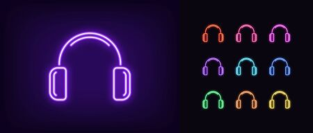 Neon headphones icon. Glowing neon earphone sign, set of isolated wireless headphones in different vivid colors. Bright icon, sign, symbol for UI design. Mobile device and gadget. Vector illustration