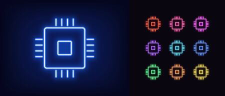 Neon CPU icon. Glowing neon microchip sign, set of isolated computing processor in different vivid colors. Bright icon, sign, symbol for UI design. Central core and microprocessor. Vector illustration