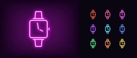 Neon smart watch icon. Glowing neon smartwatch sign, set of isolated wristwatch in different vivid colors. Bright icon, sign, symbol for UI design. Smart device and fitness band. Vector illustration