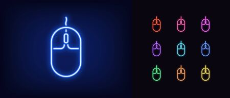 Neon computer mouse icon. Glowing neon mouse sign, set of isolated gaming mouse device in different vivid color. Bright icon, sign, symbol for UI design. Gadget for computer games. Vector illustration