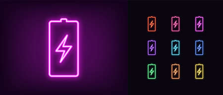 Neon battery icon. Neon charge battery sign with lightning, set of isolated electric accumulator in vivid colors. Charger, charge station. Glowing icon, sign, symbol for UI design. Vector illustration