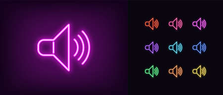 Neon speaker icon. Glowing neon sound sign, set of isolated megaphone symbol in vivid colors. Bright icon, sign, symbol for UI design. Audio device and acoustic wave. Vector illustration