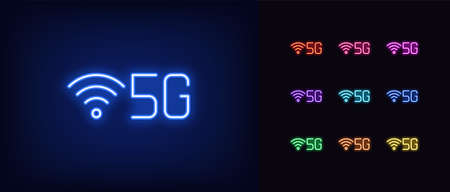 Neon 5G network icon. Neon 5g technology sign, set of isolated symbol for high speed internet in vivid colors. Fast internet 5 generation. Glowing icon, sign, symbol for UI design. Vector illustration