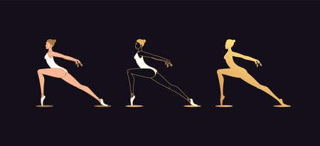 Golden ballerina woman in outline style. Ballet dancer, set of gold silhouette. Ballet posture and posing, dance performance. Vector illustration