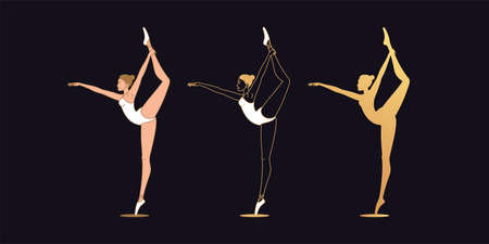 Golden ballerina woman in outline style. Set of gold silhouette, Ballet dancer stands on one leg, keeps another leg from above. Ballet posture and posing, dance performance. Vector illustration Vettoriali