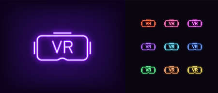 Neon VR glasses icon. Neon VR headset sign, set of isolated symbol for VR technology in vivid colors. Gadget, device of virtual reality. Glowing icon, sign, symbol for UI design. Vector illustration