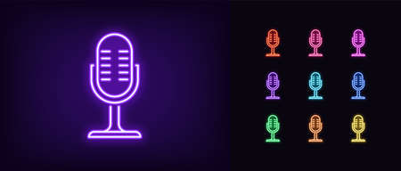Neon microphone icon. Glowing neon mike sign, set of isolated podcast symbol in vivid colors. Recording device and vocal mic. Bright icon, sign, symbol for UI design. Vector illustration