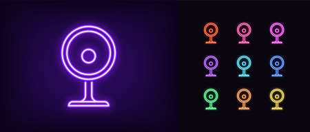 Neon webcam icon. Glowing neon internet camera sign, set of isolated web cam symbol in vivid colors. Bright icon, sign, symbol for UI design. Video device and computer gadget. Vector illustration
