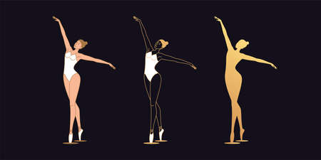 Golden ballerina woman in outline style. Set of gold silhouette, Ballet dancer with flying hands. Ballet posture and posing, dance performance. Vector illustration Vettoriali