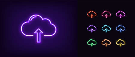 Neon cloudy upload icon. Glowing neon cloud storage sign, set of isolated network server service in vivid colors. Cloud uploading data platform. Icon, sign, symbol for UI design. Vector illustration Vettoriali